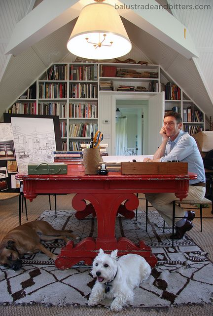 Peter Dunham and his Red Desk and shelves