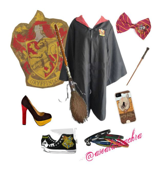 """""""Harry Potter-cute girl #2 costume"""" by asealalesachra ❤ liked on Polyvore featuring Converse, Luichiny, Halloween, harrypotter, girl, magic and Costume"""