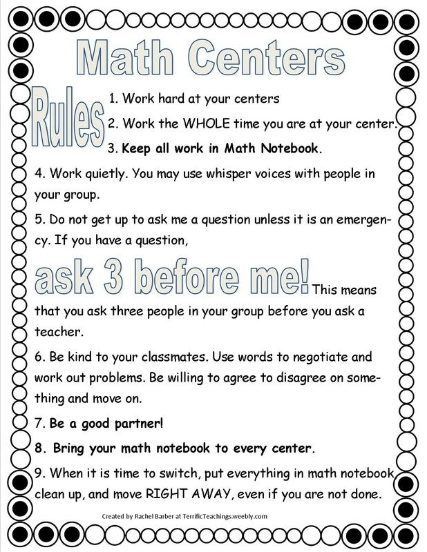 Blog about how to get math rotations going at the beginning of the year plus free rules paper for students