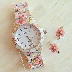 Platino ginebra estampado de flores de plástico de las señoras reloj 2014