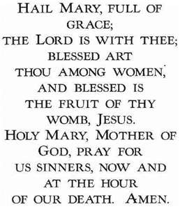Hail Mary: Notice, the 1st part of this prayer is all Scripture (from Luke). The 2nd part is simply asking Mary to pray for us...just like we ask our friends to pray for us. **Catholics do not worship Mary.**
