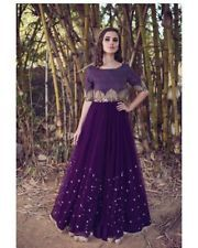 Bridal Cape Dress Purple Skirt Designer Embroidered Top Beautiful Evening Dress