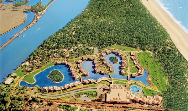 view from above of the leela kempinski hotel and resort in południowe, goa.