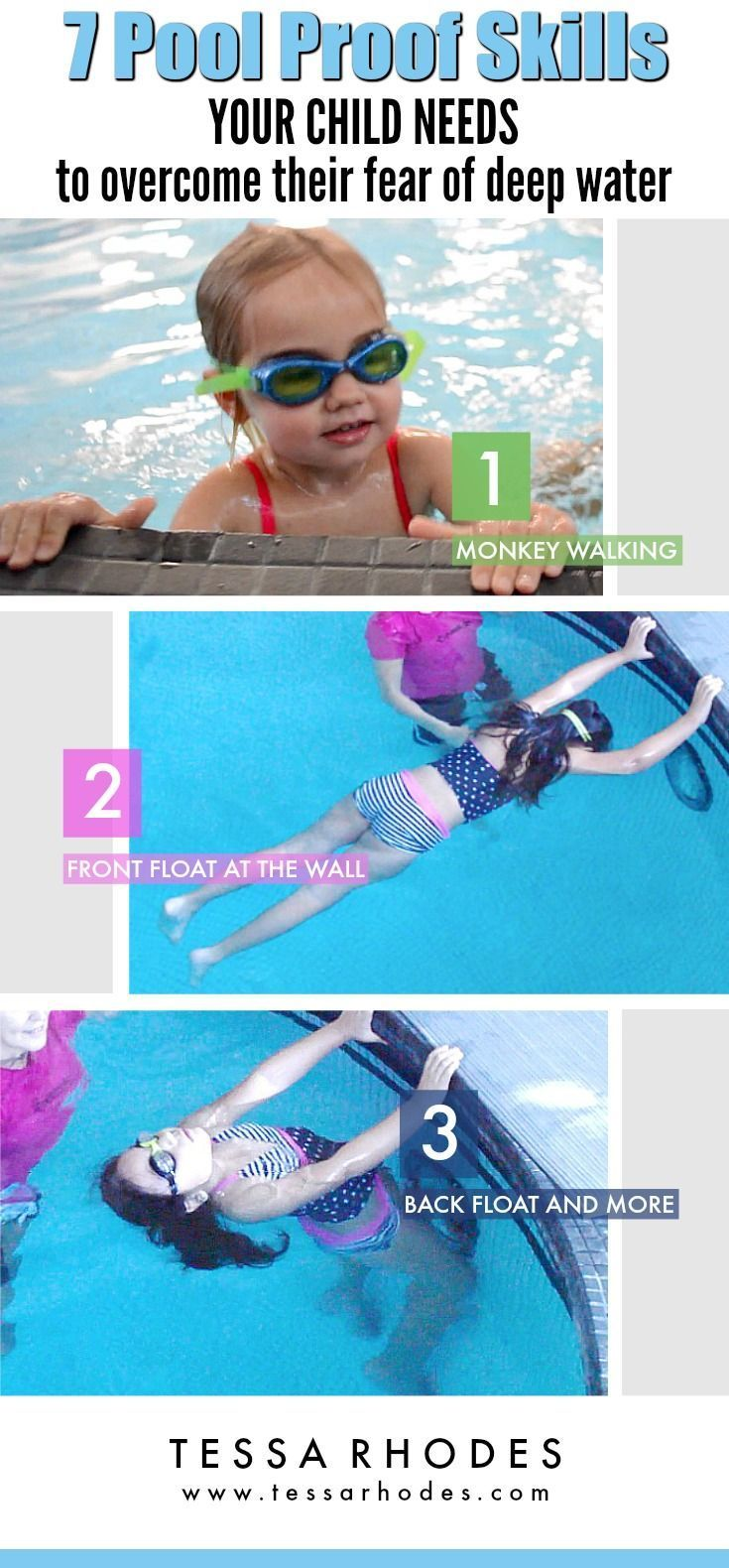 If Your Child Is Completely Comfortable In Shallow Water Then She Is Ready To Conquer Her Fear Swimming Lessons For Kids Teach Kids To Swim How To Swim Faster