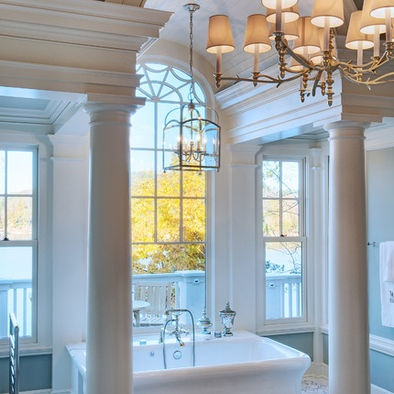 Gabriel Builders  Eclectic master bath with fabulous lake views, marble features, large tub, steam shower, upscale towel warmer,