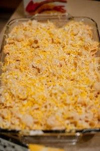 Ingredients: 1 lb. pasta { I used Piccolinni...the little shells} 3 boneless, skinless chicken breasts, cooked & cubed 1 tbsp. flour 4-6 tbsp. butter 1 1/2 cups milk 4 oz. grated monterrey jack cheese {half a brick.  plus more for topping} 1/3 cup sharply shredded cheddar cheese 1/3 cup buffalo