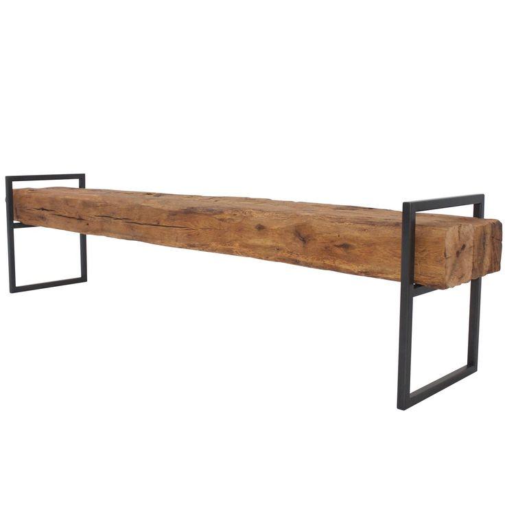 Modern Minimal Beam Bench Reclaimed Structural Oak Beams Welded Steel Frame 1