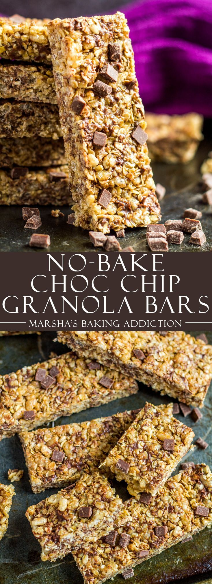 No-Bake Chocolate Chip Granola Bars | marshasbakingaddiction.com @marshasbakeblog