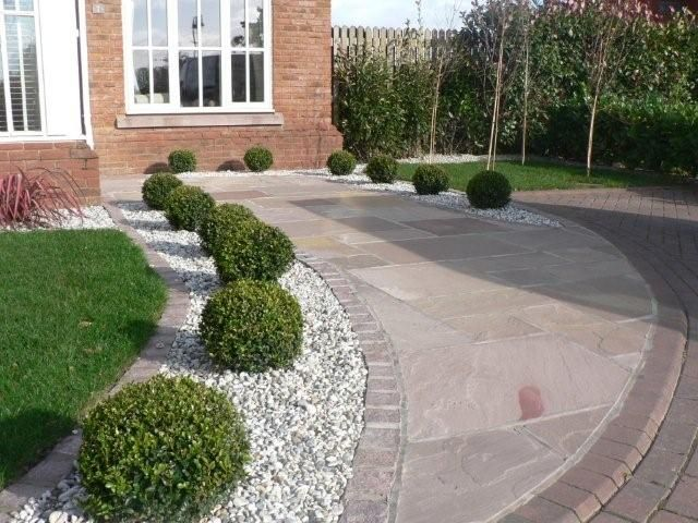 low maintenance landscape - and well draining driveway border
