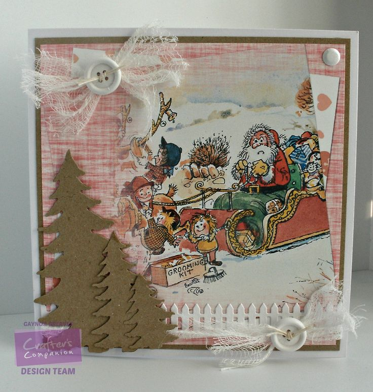 Gaynor Greaves - Crafter's Companion - Thelwell CD - Topper Companion: Design 3 - Kraft card - Neenah Solar White - Die'sire: Picket Fence die, Spruce Trees die - Collall glues - #crafterscompanion #Thelwell