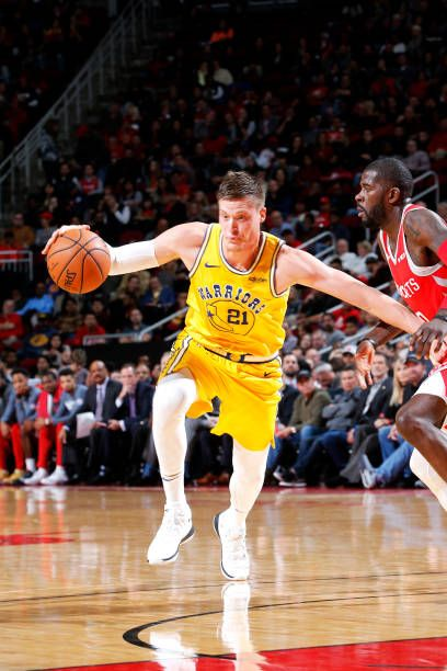 Jonas Jerebko of the Golden State Warriors handles the ball against the  Houston Rockets on November 15 2018 at the Toyota Center in Houston Texas. d5cffb82b