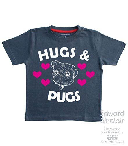 HUGS & PUGS - Washed Navy Cotton T-shirt In Size 2-3 Years. With A White & Pink Glitter Print. Edward Sinclair T-Shirt. Edward Sinclair http://www.amazon.co.uk/dp/B0108H7D54/ref=cm_sw_r_pi_dp_LD7Kvb1RZVW77