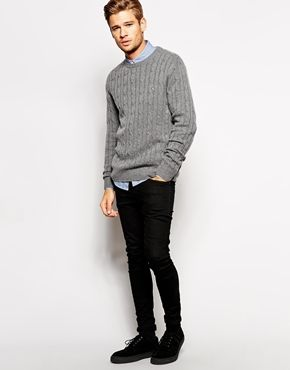 Jack Wills Burnell Sweater in Cashmere Cable Knit