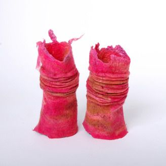 Hand warmers by felt artists Brenda Philp (Edmonton, AB)