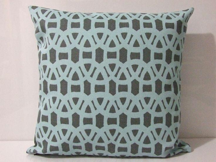 SCION Lace CUSHION COVER Gull Powder Blue Grey Modern Geometric Retro Pillow New