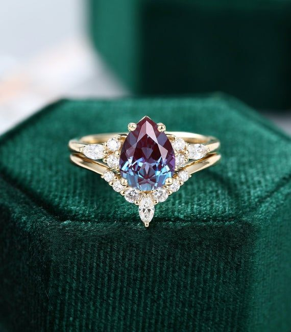 Pear Shape Alexandrite Pear And Round Simulated Diamond Ring 925 Sterling Silver Or 14K Solid Gold Engagement Art Deco Bridal Wedding Ring