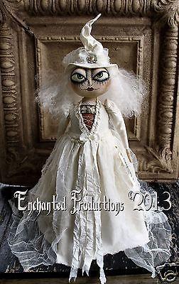 PFATT Primitive Folk Art Halloween Winter White Witch Doll by Joyce Stahl EHAG