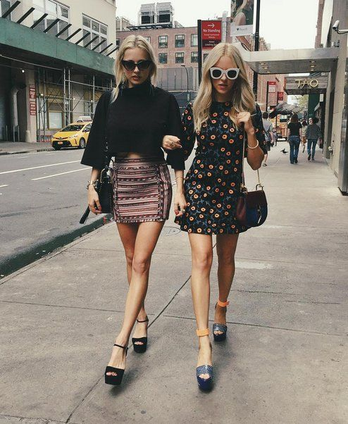 Coordinated BFF Outfits That Include Bell Sleeves, Chunky Platforms, and Thick Sunglasses