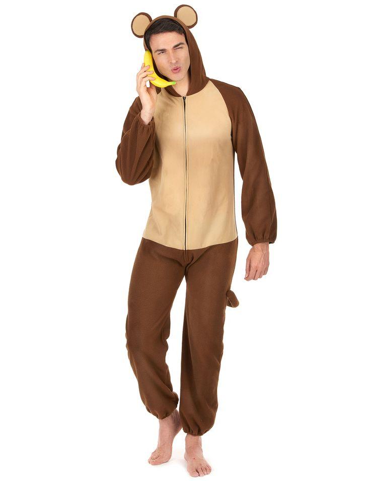 Disfraz mono hombre: Este disfraz de mono para hombre incluye traje. El traje es marrón con efecto polar. Se cierra con cremallera en la parte delantera. La capucha tiene dos orejas redondas como la de los...