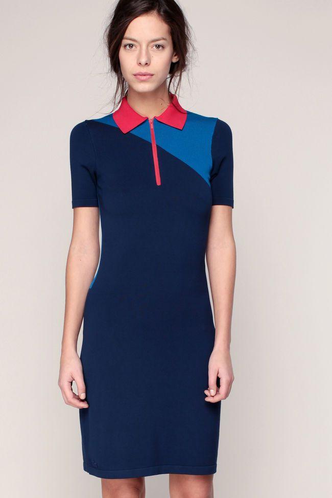 Robe polo marine/bleu/rouge patch logo brodé Lacoste