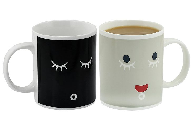 Ipow Pack Of 2 Neat Magic Color Changing Coffee Mugs