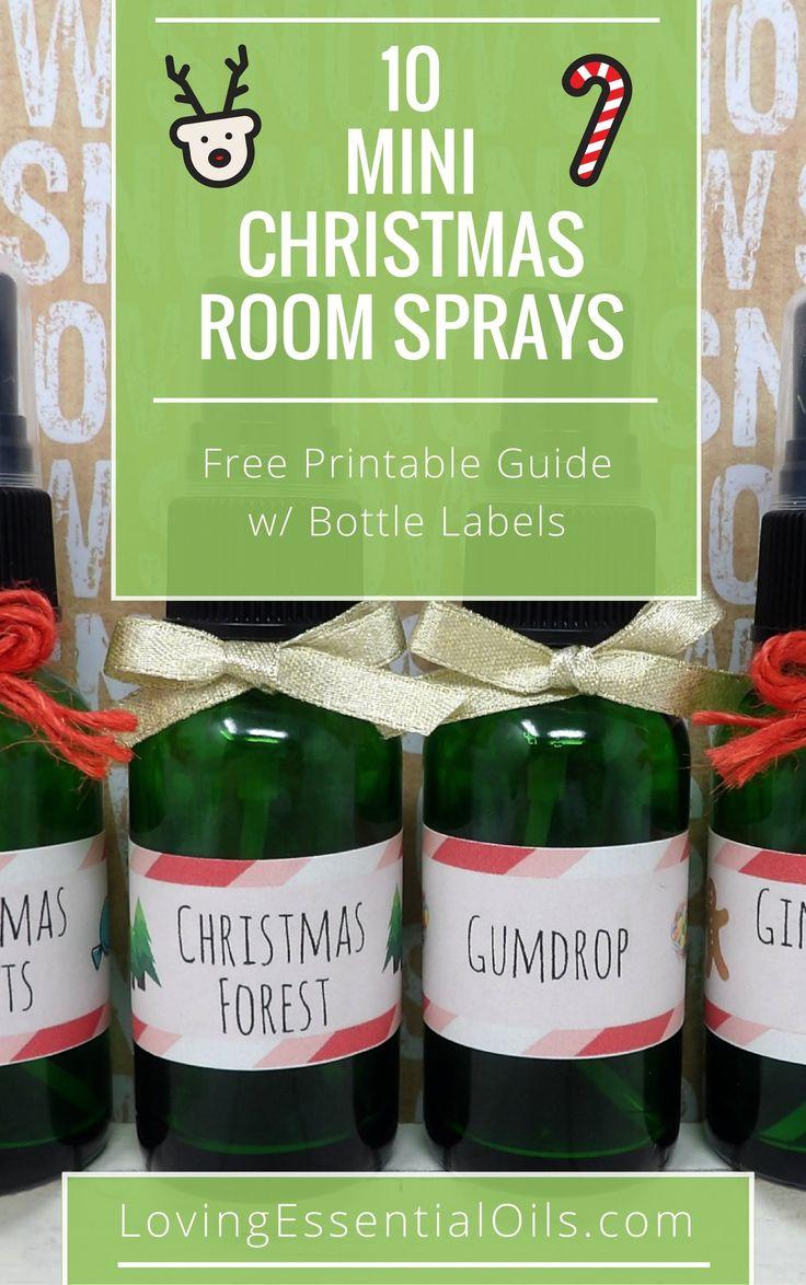 FREE Printable Guide: 10 Mini Christmas Room Sprays, get your recipe guide and bottle labels now. #freeprintable #essentialoilrecipes #diyrecipes