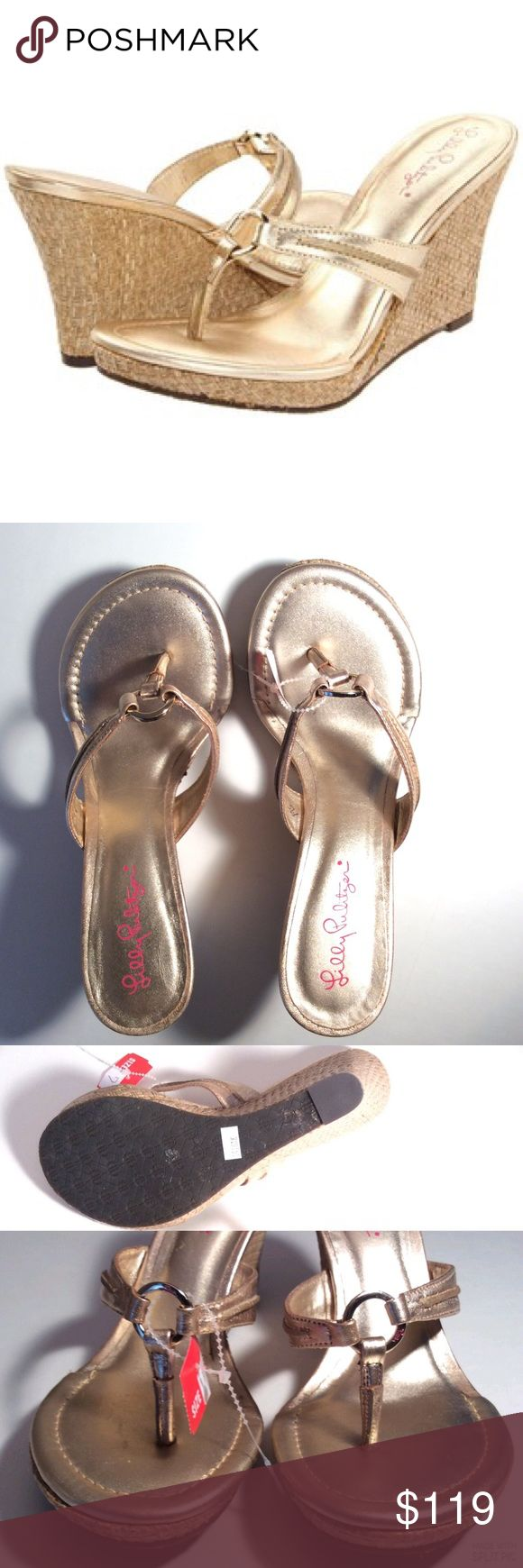"LILLY PULITZER💎McKIM WEDGE SANDALS💎NEW W/TAGS LILLY PULITZER McKim High Wedge Gold Metallic Leather Sandals. Size 7. Purchased locally. Non-slip soles, 3.5"" high wedge. No box, tag attached with no price. First photo is professional. You will love these paired with capris, skinny jeans, skirts/dresses. 3 ways to save: BOGO $10 or more, & FREE SHIP $50 or more. Many items $10 or less. See closet for details. Bundle discounts apply! Any questions, please ask. Thanks for stopping by! XO Amy…"
