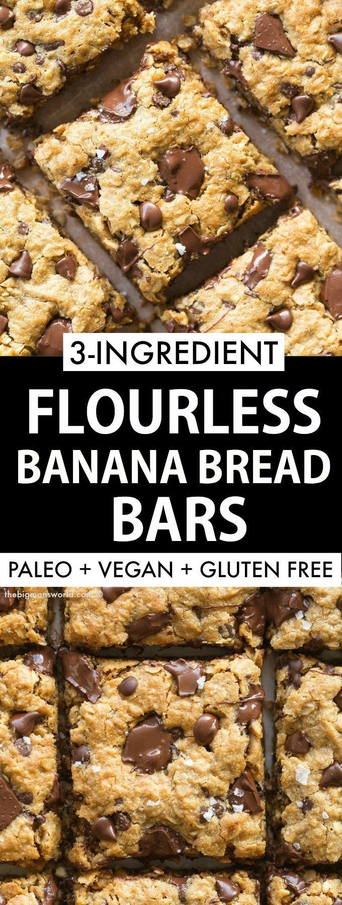 Flourless Banana Bread Bars made with 3 ingredients, NO dairy and NO eggs! Oatme…