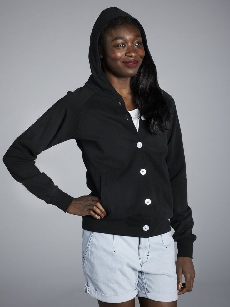 BUTTON UP HOODED SWEATSHIRT