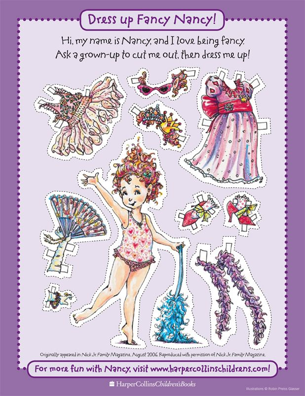 Fancy Nancy Paper Doll...Goody bag item or possible party activity