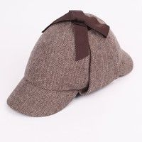 Wish | Women Mens Wool Hat Spring Winter Fashion Cap Sherlock Holmes Deerstalker Hat Western Style