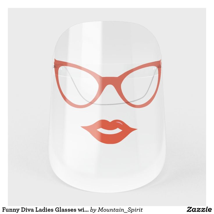 Funny diva ladies glasses with lips face shield zazzle