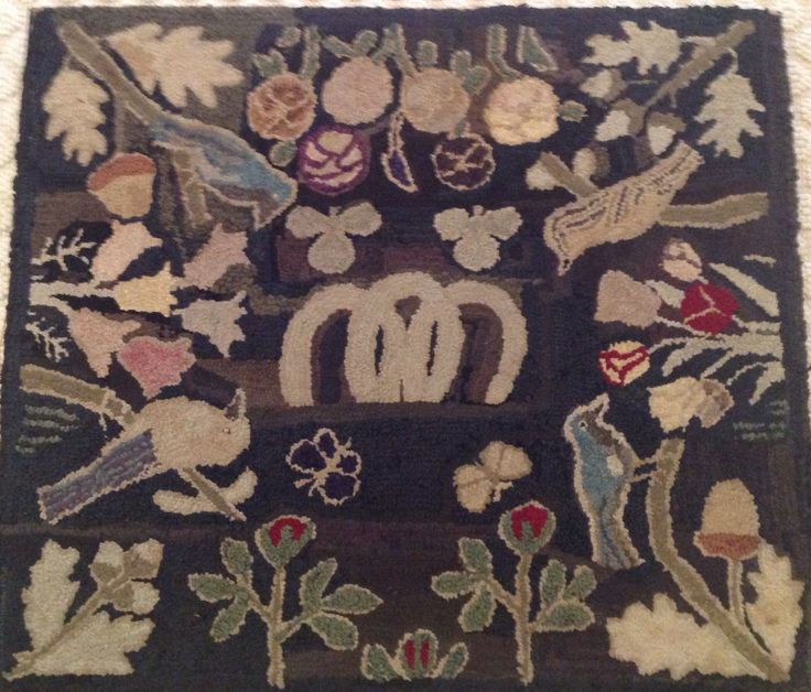 Hooked Rug ... Vintage ... Purchased At Round Top Antique Fair 2015