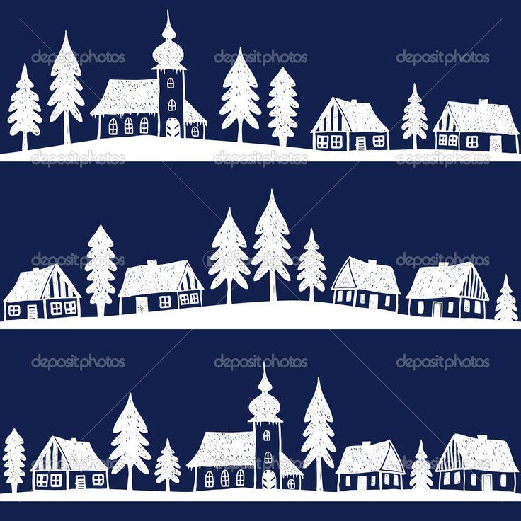 Рождественская деревня с церковной бесшовный паттерн - рисованной иллюстрации