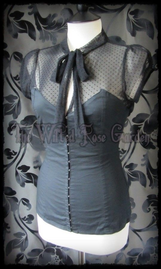 Victorian Goth Black Spotty Net Tie Neck Corset Style Top UK Size 12 | THE WILTED ROSE GARDEN on eBay // UK Based // Worldwide Shipping Available