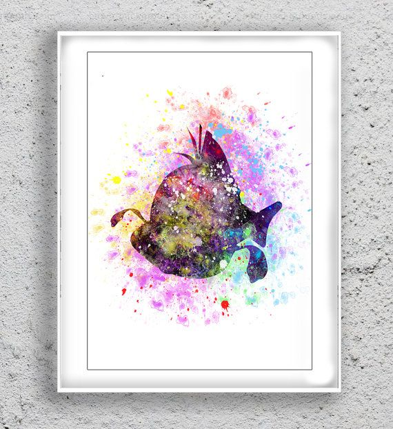 flounder disney Art Print Art Print Watercolor by MulticolourArt