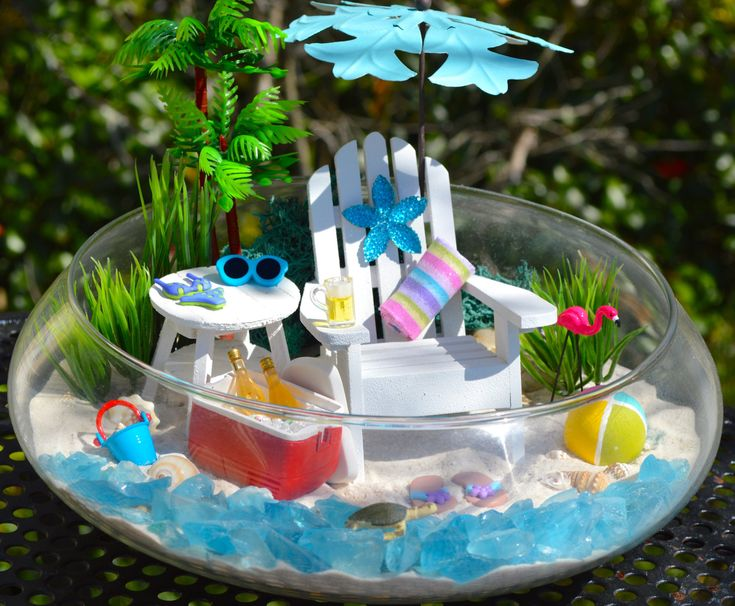 """Beach Terrarium Kit ~ Beach Umbrella, Cooler and Beach Chair ~ 3 Artificial plants and Palm Tree~ 10"""" Glass Round Bowl ~ Drink Option ~ Gift by BeachCottageBoutique on Etsy"""