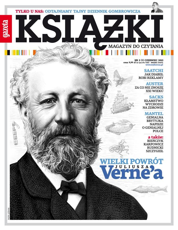 "Juliusz Verne na okłade 9 numeru ""Książek. Magazynu do Czytania"" Rys. Piotr Leśniak"