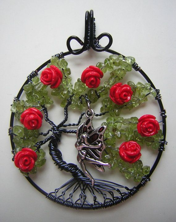 Fairy of the Roses Tree of Life by RachaelsWireGarden on Etsy, $50.00