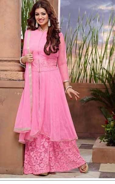Designer Embroidered Georgette Pink Plazzo Suit #plazosuits #ayeshatakia #partywear #womenapparels #fashion Designer+Embroidered+Georgette+Pink+Plazzo+Suit