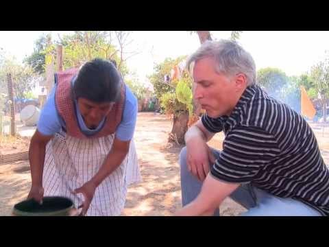 Preparing drinking chocolate near Oaxaca, Mexico