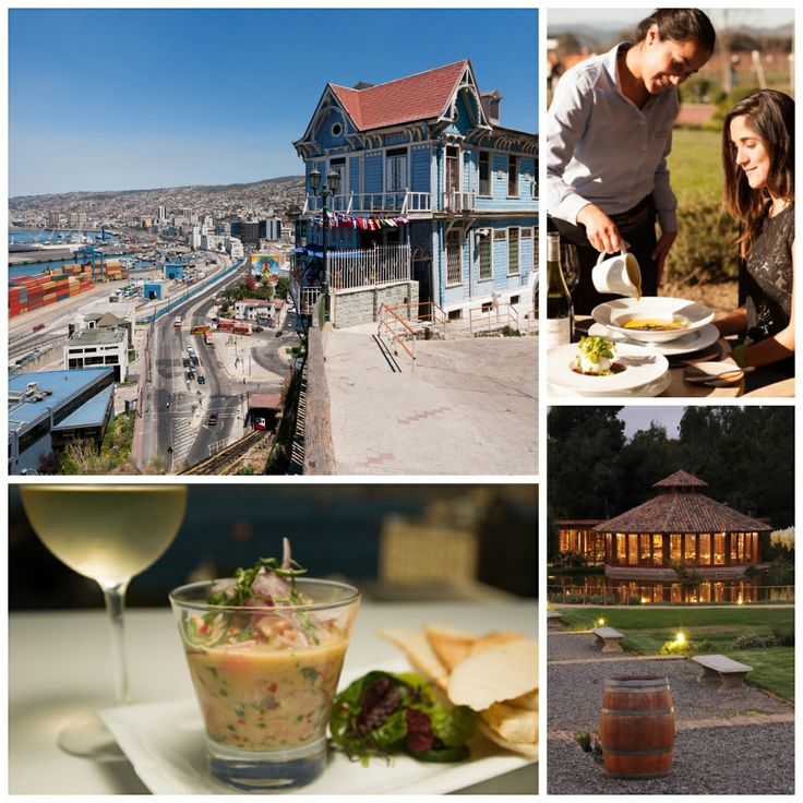 Clockwise from top left: Valparaiso, Chile's main port city, is popular among artists and Bohemians; lunch at Casas del Bosque winery; Matetic Vineyards in the San Antonio Valley specializes in biodynamic wines; ceviche at Café Turri.