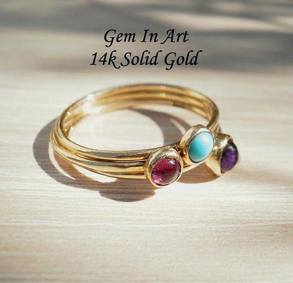 Gold Dainty RingGold Stacking Ring14K Gold ringpink