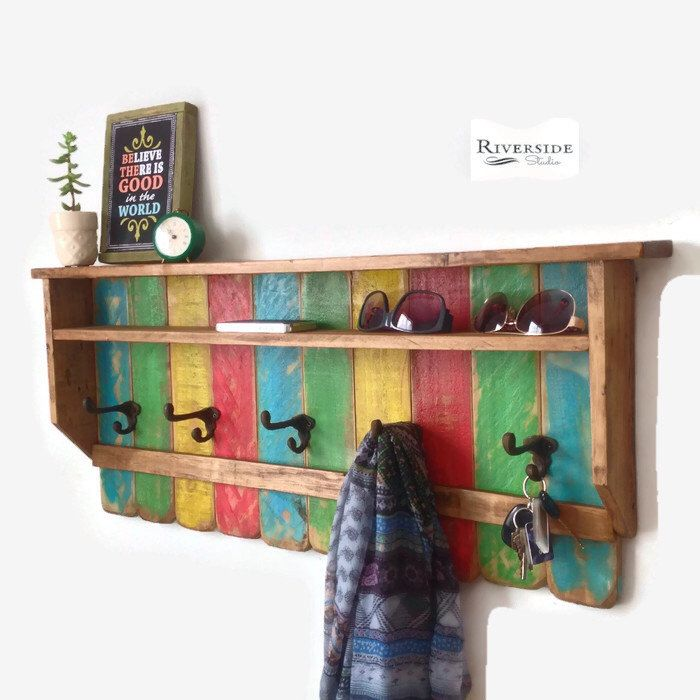 A personal favorite from my Etsy shop https://www.etsy.com/ca/listing/244198366/entryway-wood-shelf-coat-rack-reclaimed