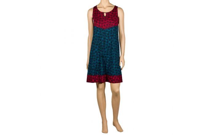 Vestido tirantes estamado en rojo y azul #ShopOnLine #InstintoBcn #VestidoSinMangas