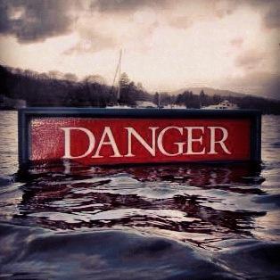 Danger, slippery when wet Sign from #NationalTrust Fell Foot Park Windermere