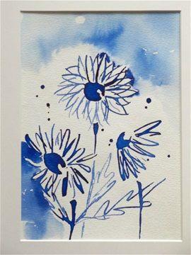 Blue dreams by Hannele Rajala. Inkpainting.