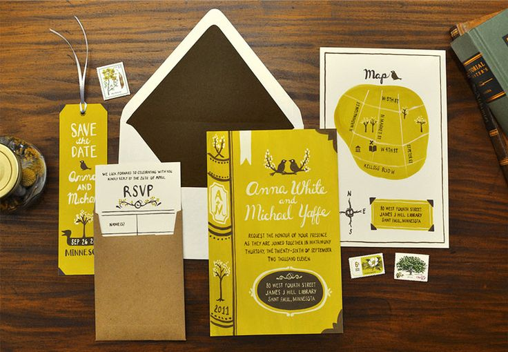 hand drawn style invitation suite