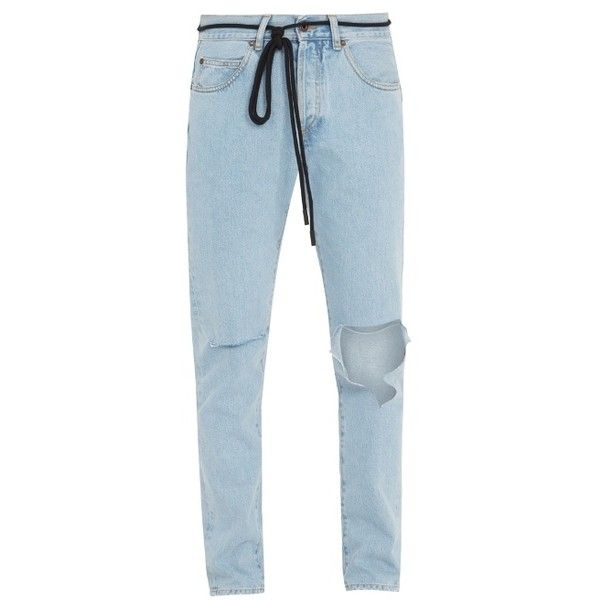 Off-White Ripped diagonal-motif slim-leg jeans (€490) ❤ liked on Polyvore featuring men's fashion, men's clothing, men's jeans, light blue, mens distressed jeans, mens destroyed jeans, mens slim fit ripped jeans, mens torn jeans and mens light blue jeans