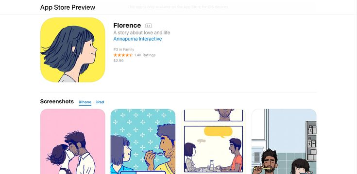 Florence is an interactive storybook from the award-winning lead designer of Monument Valley about the heart-racing highs and heartbreaking lows of a young woman's very first love.  Florence Yeoh feels a little... stuck. Her life is an endless routine of work, sleep, and spending too much time on social media. Then one day, she meets a cello player named Krish who changes everything about how she sees the world and herself.